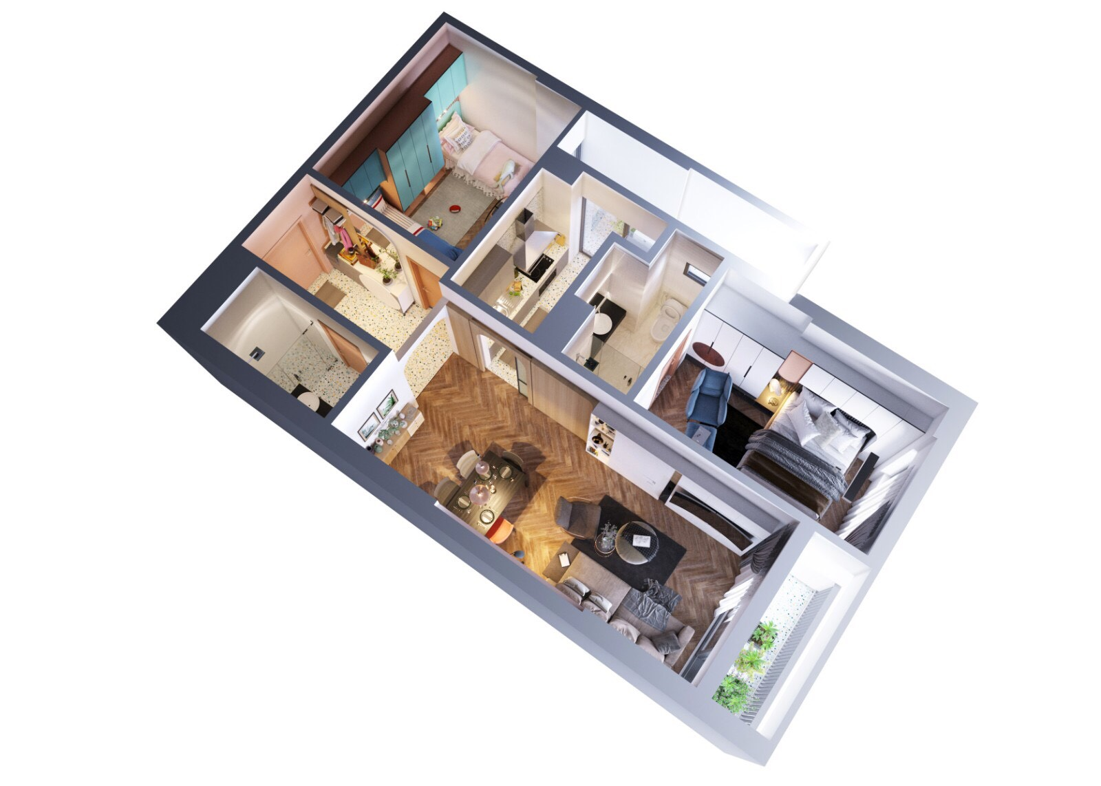 Thiết kế căn hộ 2 phòng ngủ Green Pearl Bắc Ninh