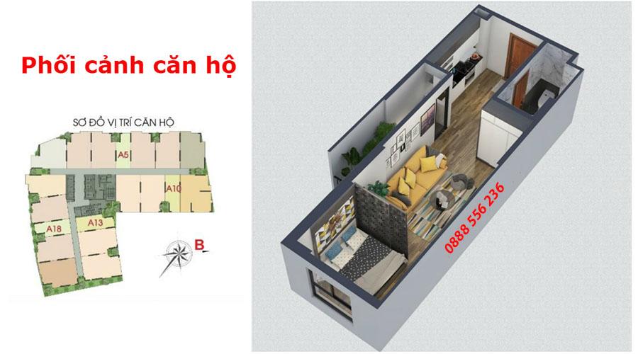 Thiết kế căn 1 phòng ngủ Green Pearl Bắc Ninh