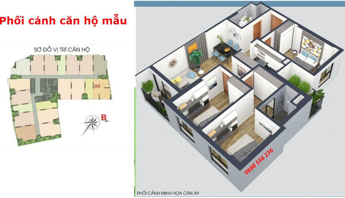 Thiết kế căn hộ 3 phòng ngủ Green Pearl Bắc Ninh