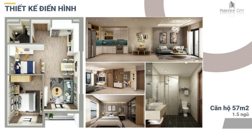 Thiết kế căn hộ 1,5 phòng ngủ Dabaco Huyền Quang - ParkView City