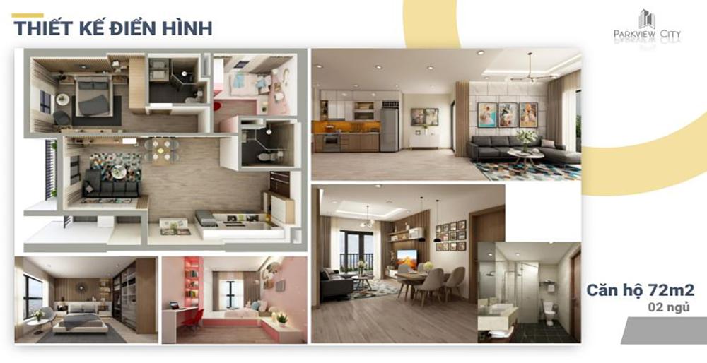 Thiết kế căn hộ 2 phòng ngủ Dabaco Huyền Quang - ParkView City Bắc Ninh