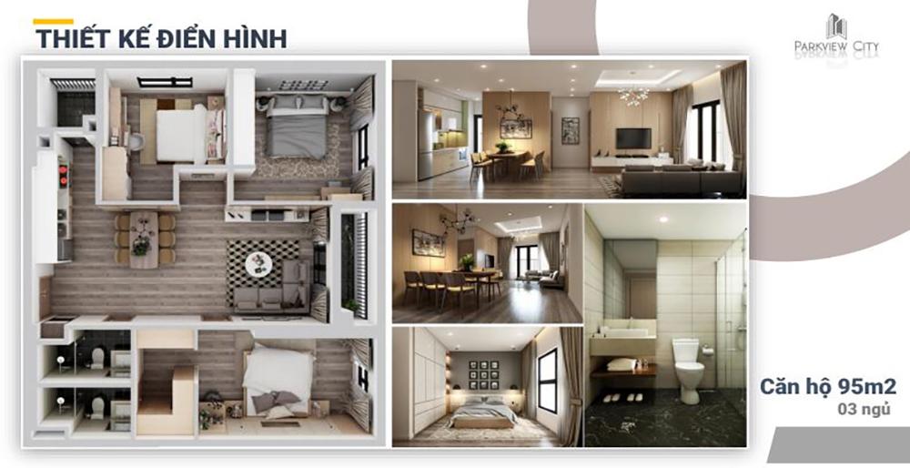 Thiết kế căn hộ 3 phòng ngủ Dabaco Huyền Quang - ParkView City Bắc Ninh
